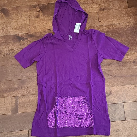 NWT purple hooded t-shirt